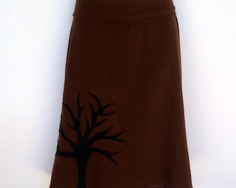 Ladies Retro Brown A Line Skirt - size 8-18 - tree applique, forest, woodlands