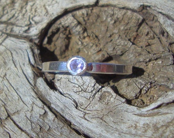 Ring Tanzanite, natural, in sterling silver custom size Fair Trade, earth friendly, conflict free - lavender lilac