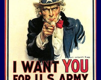"Uncle Sam, I Want You, Recruitment, Military,  11x14"" pemium poster print Print"
