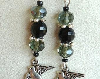 """Silver dangling earrings """"swallow"""""""