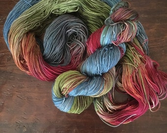 merino hand dyed yarn, superwash sock yarn, 400 yards