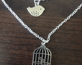Double Strand Bird and Cage Necklace