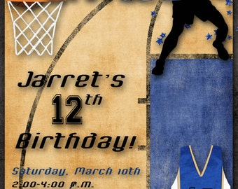 Basketball Birthday Party Invitation - Blue