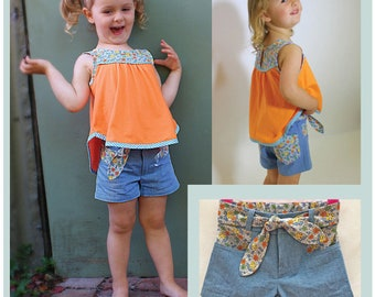 Cute girls shorts sewing pattern SANDY BAY Shorts, classic summer shorts sewing pattern sizes 2 to 14 years, kids summer shorts