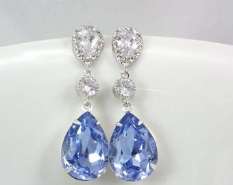 Light Sapphire Earrings, Bridal earrings, Swarovski Crystal Sterling Silver post, Bridesmaid earrings, weddings jewelry, bridesmaid Gift