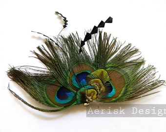 Peacock feather fascinator (5 fastners and 12 color options) Kora design for gatsby party, steampunk wedding, kentucky derby