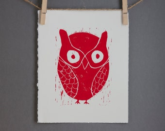 Red Owl Decor Linocut Art PRINT Fire Engine Red Owl 8x10
