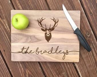 Rustic Wedding, Personalized Cutting Board, Deer Antler, Deer Head, Hunting Gifts, Wedding Gift, 5th Anniversary, 5th Anniversary Gift, Deer