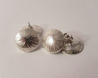 Hand Engraved Silver Cuff-links