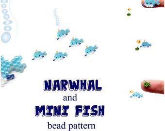 Narwhal & Mini Fish Charm, Bead Weaving PATTERN, Miyuki Delica Beads