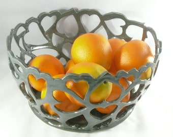 Pierced Bowl Decorative Bowl Candle holder Fruit Bowl Heart Bowl Table Decor Farmhouse Ceramics and Pottery 9th Anniversary Gift for her