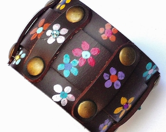 Painted Flowers Boho Cuff Bracelet Colorful Brown Leather Hippie Jewelry FREE SHIPPING