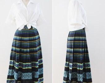 woven cotton skirt XS midi length 1940s guatemalan skirt extra small vintage ethnic mayan 24 inch waist folk boho peasant hippie