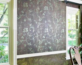 Floral & Vine Wallpaper Wall Stencil for DIY Wall Decor - Traditional Classic Flower Designs