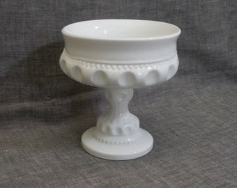 Vintage Milk Glass Kings Crown Compote - Indiana Glass
