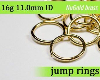16g 11.0 mm ID NuGold brass jump rings -- 16g11.00 jumprings