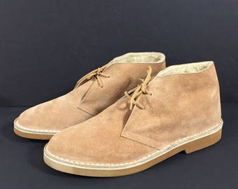 Mens Vintage 70s Coasters Chukka Ankle Boots Tan Suede Leather Faux Shearling 13D NEW Old Stock Made in Spain