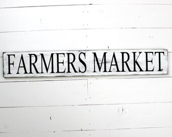 Industrial Farmer's Market Sign - Wooden Sign Wood Sign Kitchen Decor