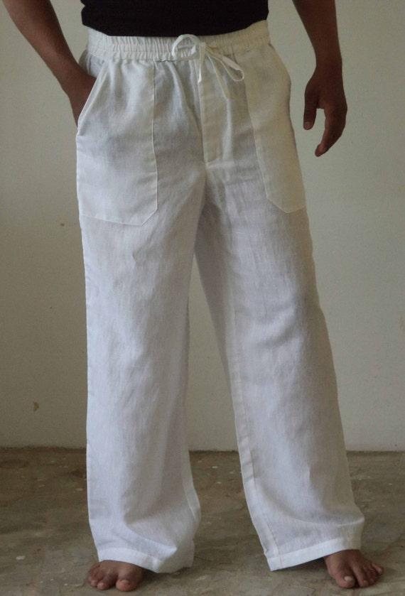 Mens Linen Drawstring Baggy Look Pants Plus Size