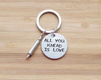hand stamped keychain   all you knead is love