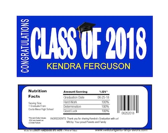 Graduation Candy Bar Wrapper Editable instant  download Printable -  GRA1216  DIY (1- PDF file) class of 2018