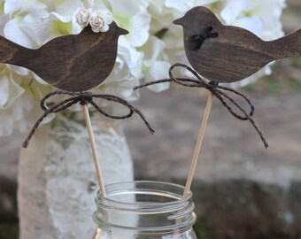 Love Birds Cake Toppers Wedding Cupcake Toppers, Bride Groom Cake Toppers, Roses, Rustic Wedding