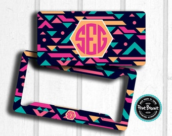 Aztec Pink Turquoise License Plate , Car Plate, Monogram License Frame, Bicycle Tag, Bicycle Plate, Front Car Tag, Personalized Tag 19LT