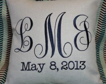 Monogram Baby Pillow, decorative baby pillow, embroidered pillow, custom pillow, decorative pillow