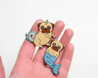 Pug Pin Set   Mermaid Unicorn   Hard Enamel Pin   Glitter Pins   Pug gifts   Gift for her   Valentines Gift   Valentine Pet   Nais Products