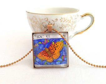 butterfly necklace, postage stamp, orange butterfly pendant, large square necklace
