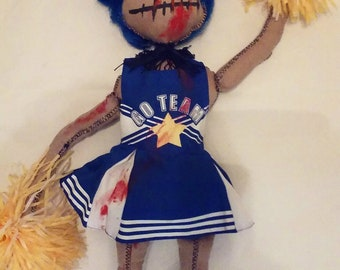 Zombie Cheerleader Gothic Doll/Zombie doll/witch/Gothic doll/Vampire /Art doll /Handmade doll/ Creepy doll/Halloween/Nightmare/