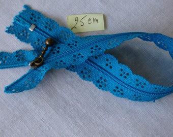 Zipper lace peacock blue 25 cm