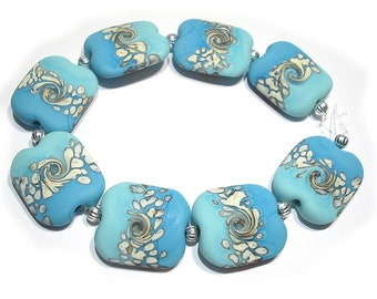 Glass   Lampwork  Beads Handmade, Etched Squeezed Turquoise and Ivory  Mix