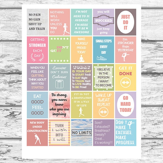 Fitness and Diet Motivational Stickers Printable Workout