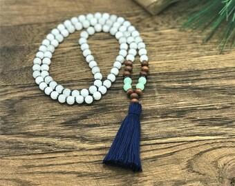 Beaded Tassel Necklace, Boho Bead Necklace, Bohemian Beaded Necklace, Tassel Necklace, Bohemian Style Tassel Necklace, Aquamarine and Navy