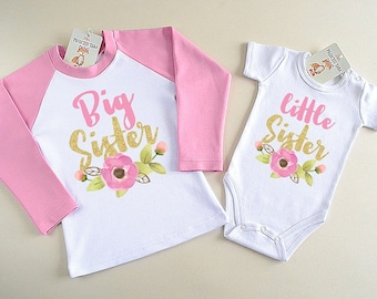 Big Sister Little Sister Matching Outfit. Big Sister And Little Sister Shirts. New Baby Announcement. Sister Gifts. Little Sister