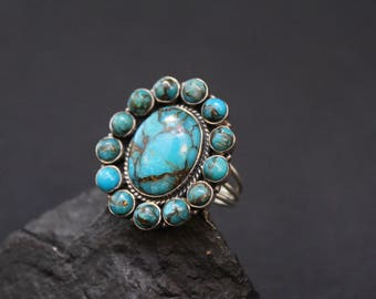 Sterling Silver Turquoise Cluster Ring, Sterling Statement Ring, Large Sterling Silver Turquoise Ring, Southwestern Sterling Turquoise Ring
