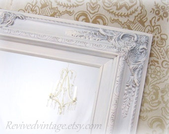 SHABBY CHIC Mirrors For Sale - Baroque Framed Mirror Decorative Wall Mirrors French Country Mirror Mantel White Mirrors