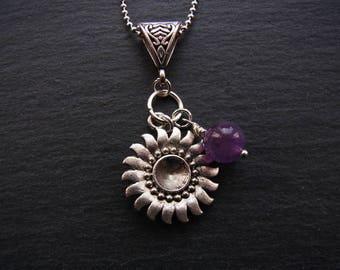 Beautiful Sunflower Necklace Amethyst Stone beaded Pendant Necklace