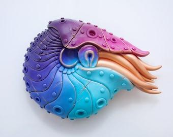 Nautilus Sculpture (teal/pink)