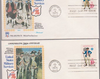 MILITARY Services United States 1975 Set of 4 Fleetwood FDCs First Day Cover