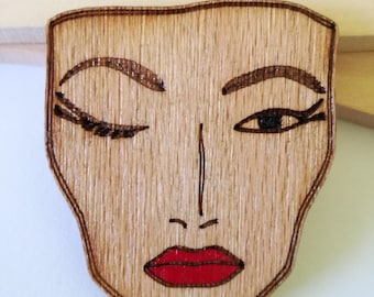 Woman Face Woman Face Brooch Face Brooch Wooden Brooch Laser Cut Brooch Handpainted Brooch