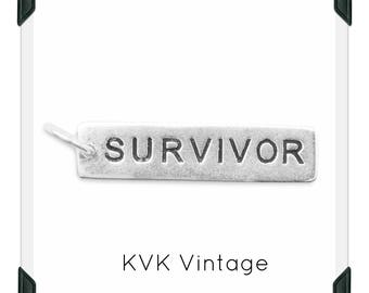 "Oxidized ""SURVIVOR"" Hand-Stamped Sterling Silver Pendant/Necklace"