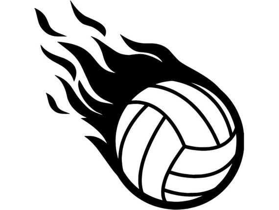 volleyball ball 9 fire flame court player sports team sport rh etsy com  free flaming volleyball clipart