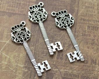 10 Key Charms Key Pendants Antique Silver Tone Skeleton Keys Double Sided 63 mm/ 2 1/2 inch