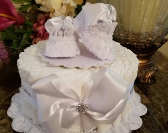 One Tier White Diaper Cake / White Baby Shower Centerpiece / Elegant Diaper Cakes /  Baby Shower Gift