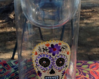 Upcycled Candle Holders with Sugar skulls - Set or sold separately