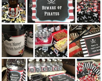 Pirate Party Kit with Invitation, Printable Pirate Party Kit, Pirate Party Set, Pirate Birthday Party Invitation and Kit,  Instant Download