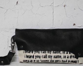 075 Black Leather Wristlet Clutch Bag / Poetry Text Printed Handbag / Leather Wristlet Purse