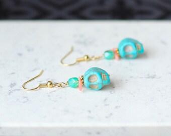 Blue Skull Earrings, Seafoam Glass Crystal Dangle Earrings, Pink Coral Earrings, Feminine Sugar Skull Jewelry, Turquoise Blue Stone Earrings
